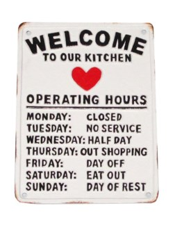 Welcome To Our Kitchen Plaque, 8.6x6.2x1
