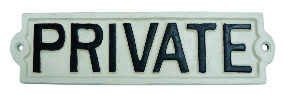 PRIVATE sign Black/White. 8.7x2.16x0.2inch