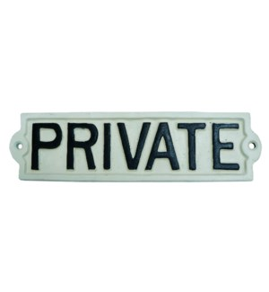 PRIVATE sign Black/White. 8.7x2.16x0.2inch