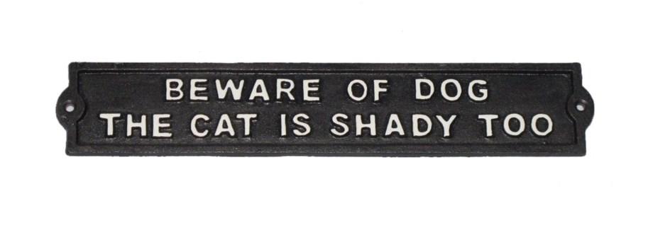 Cast Iron Plaque - BEWARE OF DOG/Shady Cat BlkWht, 13x2x0.25