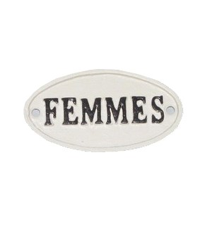 """Oval Sign-FEMMES, BlkWht"""