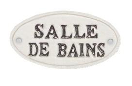 Oval Sign-SALLE DE BAIN, BlkWht, 4x2 inches