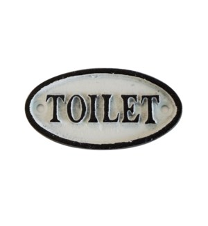 """Oval Sign-TOILETTE, BlkWht"""