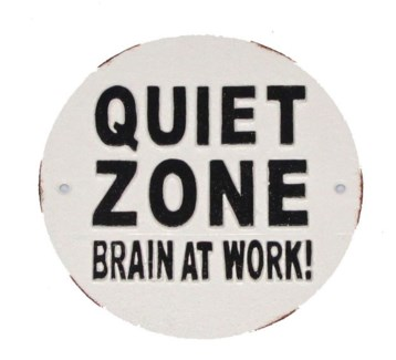 Quiet Zone Brain At Work! Plaque, 7D