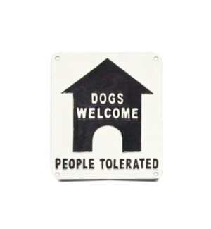 sign-dog welcome people tolerated