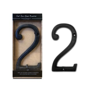 Cast Iron Roman Number 2 BLK