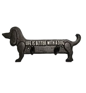"""""""Dachshund 2 hooks, """"""""Life is better with a dog"""""""", Black, 10.3"""""""