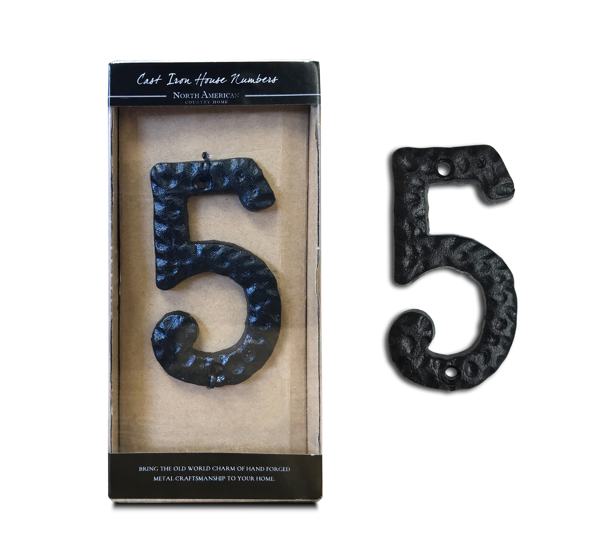 NACH JS-RN4-4 Rustic Cast Iron House Numbers Black 4 Inch