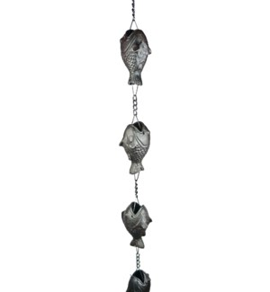 Fish Cast Iron Rain Chain, 6 ft. 80 inch long 3.5 inch  wide