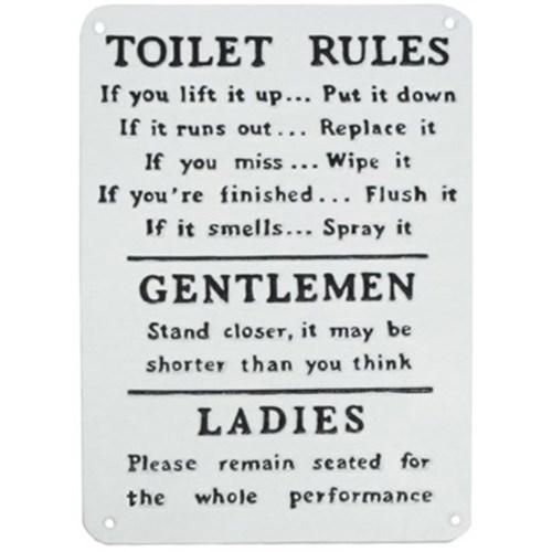 Toilet Rules Plaque, 13x9 1x0 4