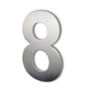 Stainless Steel 6 in. Arial Number-8 Satin Finish, 2.0 mm thick, anchor mounted