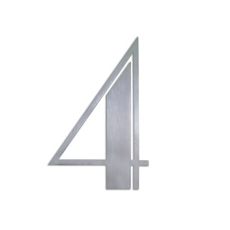 Stainless Steel 6   ArtDeco Number-4 Satin Finish, 2.0 mm thick, anchor mounted 4  Wide