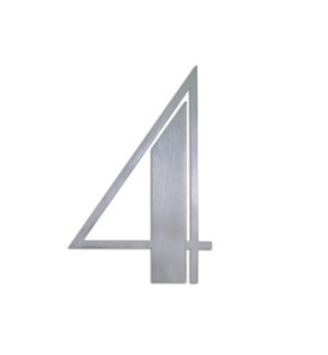 Stainless Steel 6 in. ArtDeco Number-4 Satin Finish, 2.0 mm thick, anchor mounted 4 in. wide