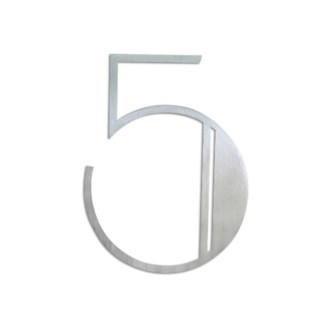 Stainless Steel 6   ArtDeco Number-5 Satin Finish, 2.0 mm thick, anchor mounted 4.75  Wide