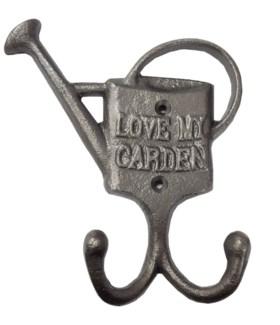 LOVE MY GARDEN Double Hook 5x1.5x6inch Antique Metal Finish. KE099 *Last Chance!* On sale 20 percent