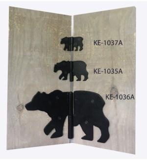 Bear Hinge, Powder Coated Black, Large 10.5x6.3 inch