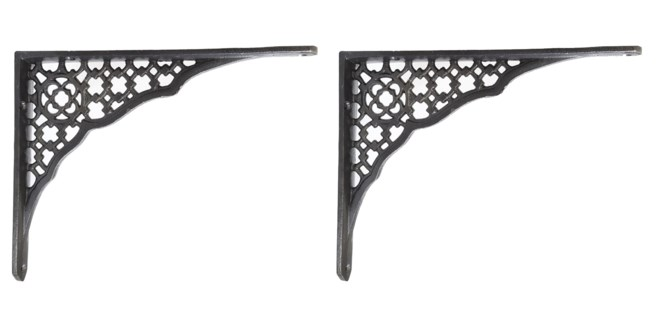Lattice Design Shelf Bracket, Antique Metal, 8.5x6.5 inches