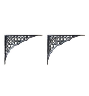 Lattice Design Shelf Bracket,  Black, 8.5x6.5 inches
