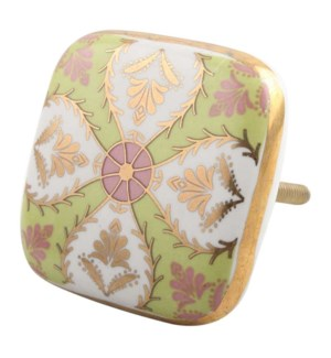 """""""Handmade Ceramic Knobs, Multicolor (Lime,Golden,Pink and Wh"""""""