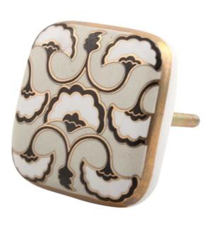 """Handmade Ceramic Knobs, Multicolor (Cream, Black, Golden an"""