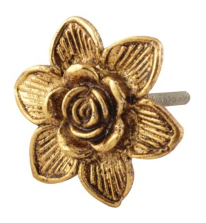 Golden Rose Flower Metal Cabinet Knob