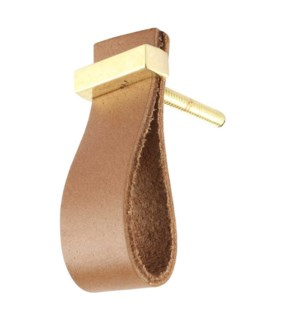 """""""Handmade Knob, Camel, Faux Leather and Metal"""""""