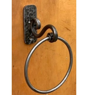 """""""Forged Hand Made Towel Ring, Antique Metal"""""""