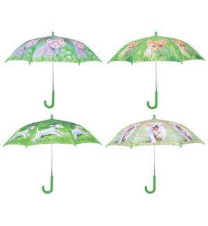Umbrella puppies and kittens ass. Polyester, metal, PP. 71,0x71,0x58,0cm. oq/12,mc/60 Pg.98