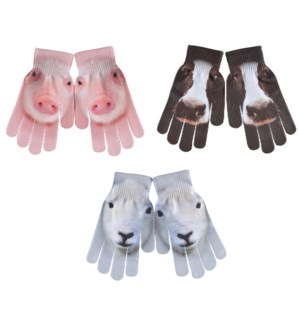 Children gloves farm animals ass.