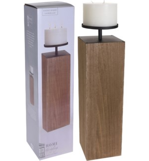 CC5000360 - Mod Block Candlestand L, Wooden, Dark Brown 7X33 in. (Candle Is Included) On sale 30 pe