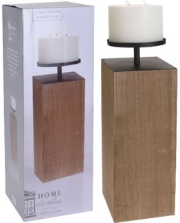 CC5000350 - Mod Block Candlestand S, Wooden, Dark Brown 7X27 in. (Candle Is Included)