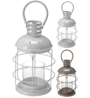Metal Lantern 2Asstd. 19.5x33cm. Glass Tube 10x10cm. *LAST CHANCE On Sale 50 percent off