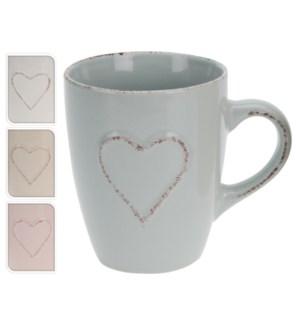 Q75100230. Heart Mug 4 Asstd (grey brown beige pink) Stoneware. 3.5 Diameter x 4.3 High. 1.2 hand