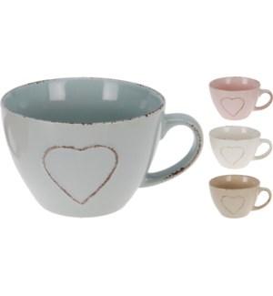 Q75100250. Heart Jumbo Mug 4 Asstd Colours  Stoneware. 4.8 Diameter x 3.2 High. 1.2 handle.