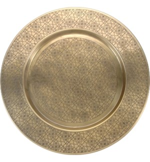 Metal Underplate Charger Plate 40Dx2cm. Hammered. Hand Engraved, Antique Brass Plated. On sale 60 pe