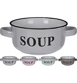 DN1000500 Soupbowl With Handles, 4Asst