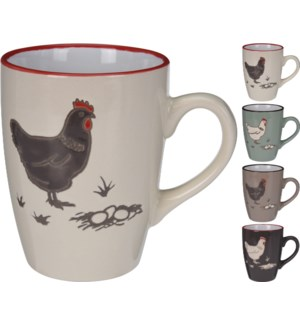 DN1800010-Farmhouse Mug, M, 4Asst - 4.5x3.2x4.1 Stoneware (Dark Brown /Turquoise/Cream Mug/Taup
