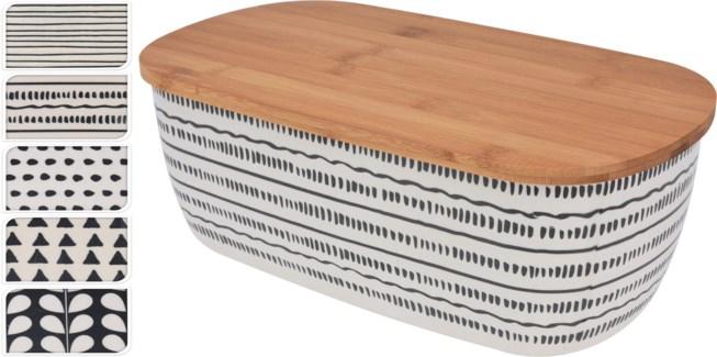 170425730-Bamboo Bread Bin, 5 Asst - Bamboo Fibre With Bamboo Lid, 5 Assorted Designs, 14.2x8.1x5.3