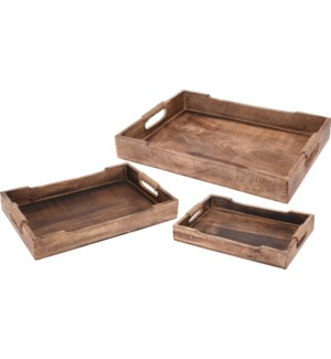 Serving Tray Mango Wood With Rope Handles. Set Of 3