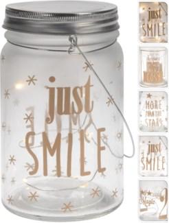 AX5300560. Glass Jar wLights 4Asstd Gold Text 3.3Dx5.5   (units/inner:12. units/outer24) - ON SALE 4