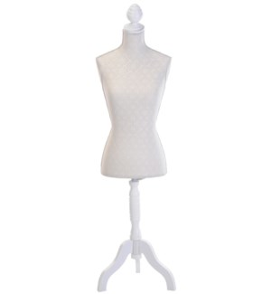 Dress Doll Mannequin Wooden Stand. Metal Pole. 3 Legs Adjust Height 135-165cm. Knock-Down Wht Frame.