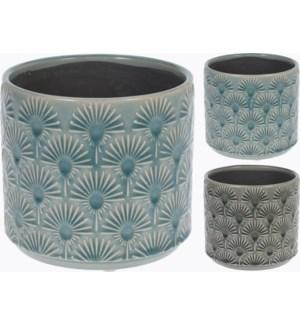 084000150-Glazed Flower Pot M 2/Asst