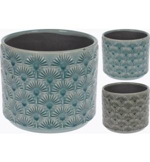 084000160-Glazed Flower Pot L 2/Asst