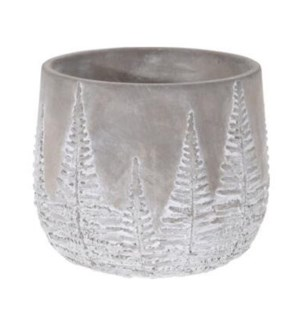 095703640-Chloe Flower Pot Bowl Grey w/ White Washed Leaf Design, M, Cement, 6.5x6.5x5.5 in
