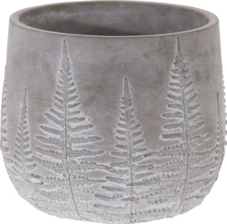 095703650-Chloe Flower Pot Bowl Grey w/ White Washed Leaf Design, L, Cement, 7x7x6 in