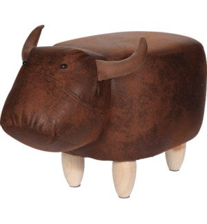 HZ1200500 Leather Bull Stool, 25x13.8 in.