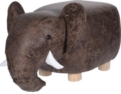HZ1200510 Leather Elephant Stool, 26x13.8 in.