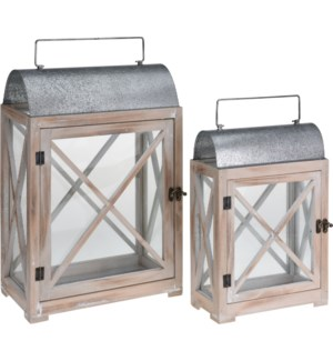 HZ1002920 ETTA LANTERN PINEWOOD SET OF 2