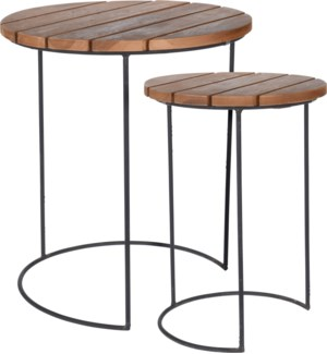 J11301290 REMI SIDE TABLE TEAK SET OF 2PCS