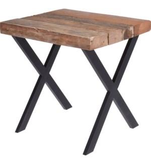 J11301380 SIERRA END TABLE TEAK METAL FRAME
